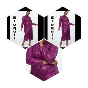 Sequin  Magenta Maxi Dress with Wrap Skirt